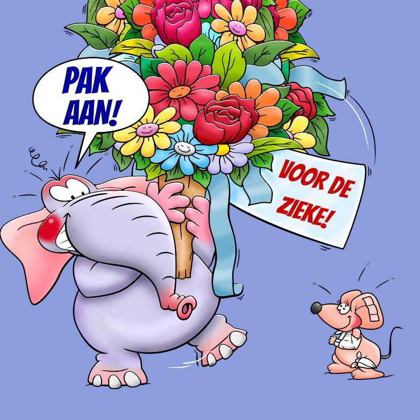 Beterschapskaarten - Leuke beterschapskaart met olifant en muisje met bos bloemen