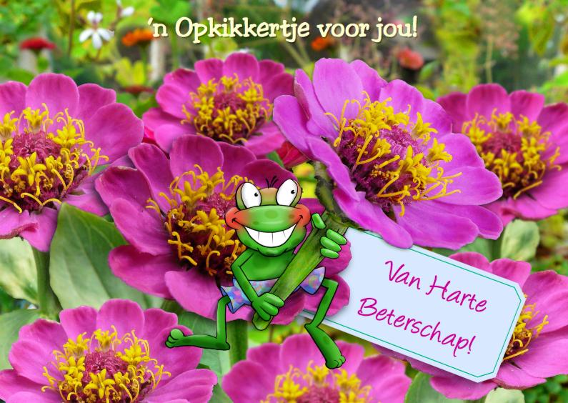 Beterschapskaarten - Opkikker met roze bloemen en label