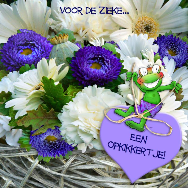 Beterschapskaarten - Opkikkertje met bloemen en strikje op hart