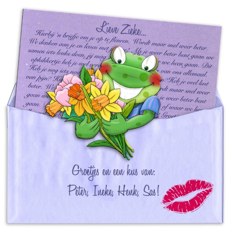 Beterschapskaarten - Opkikkertje met brief en bloemen