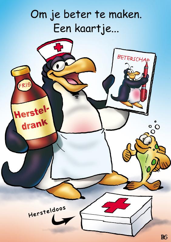 Beterschapskaarten - penguins beterschap 1 verpleegster