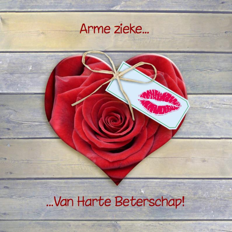 Beterschapskaarten - Roos in vorm van hart kusje beterschap