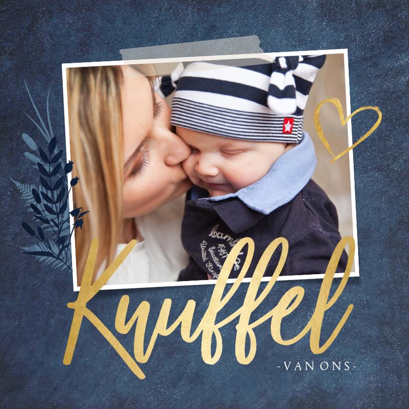 Beterschapskaarten - Stijlvolle beterschapskaart met eigen foto en gouden knuffel