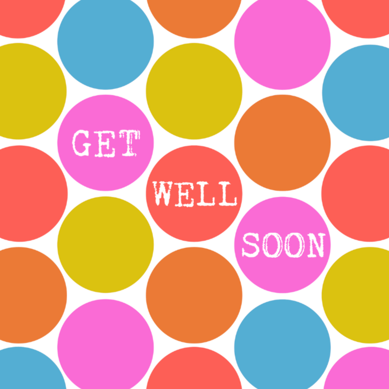 Beterschapskaarten - Stippen kaart GET WELL SOON