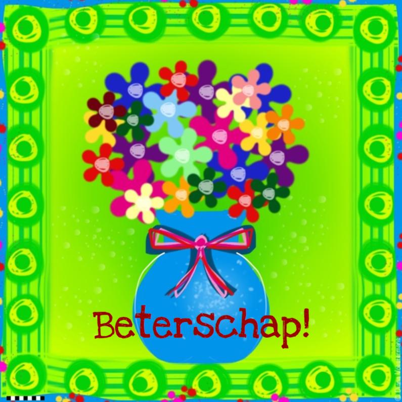 Beterschapskaarten - Vaasje met bloemen beterschap