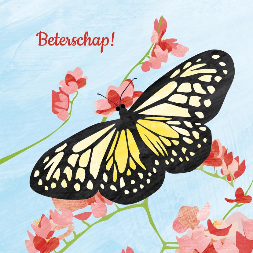 Beterschapskaarten - Vlinder met bloemen - beterschap