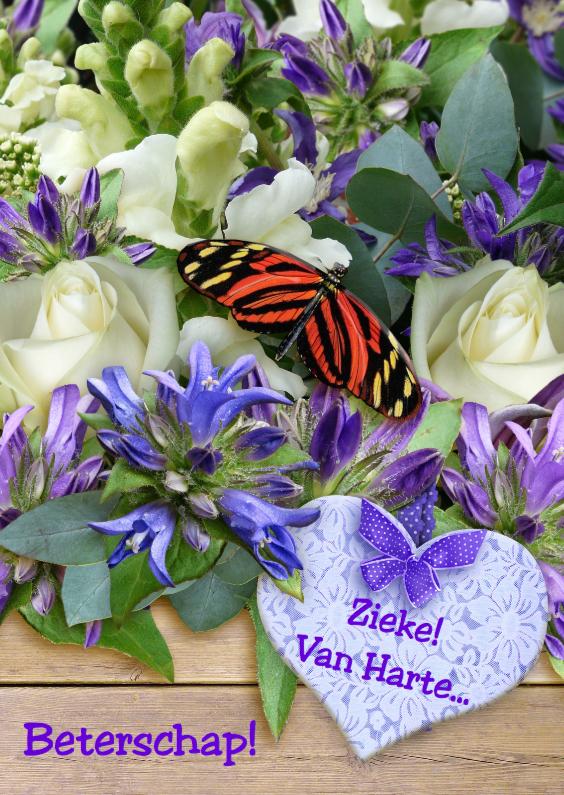 Beterschapskaarten - Vlinder met bloemen