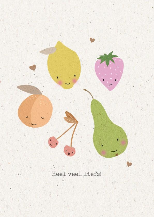 Beterschapskaarten - Vrolijke beterschapskaart met schattig fruit