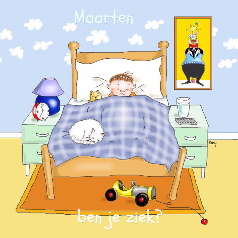 Beterschapskaarten - Ziek jongetje in bed