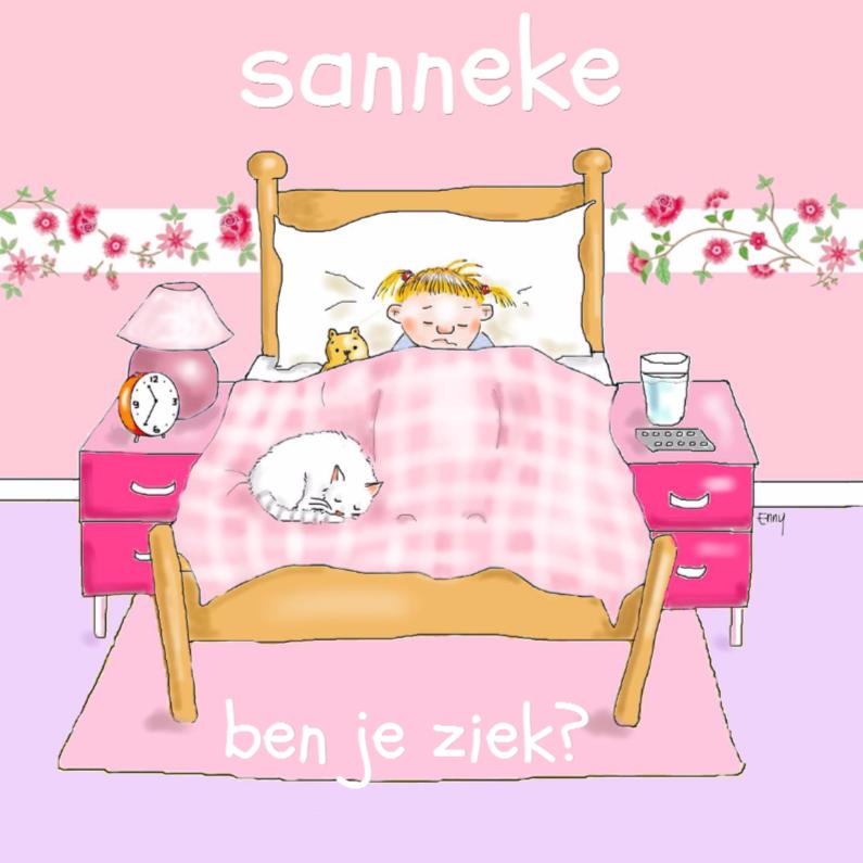 Beterschapskaarten - Ziek meisje in bed