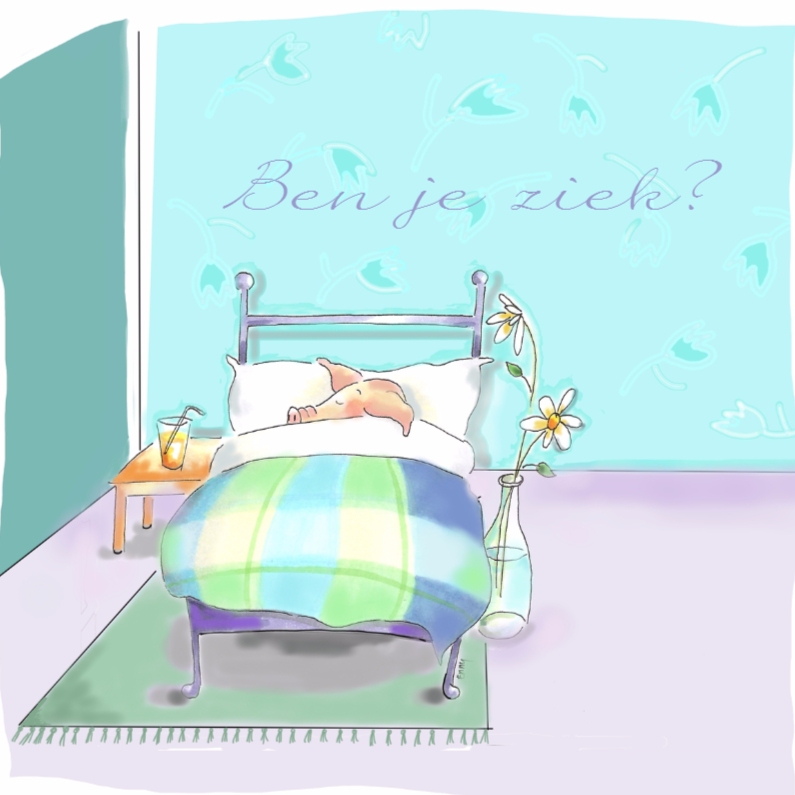 Beterschapskaarten - Ziek varkentje in bed