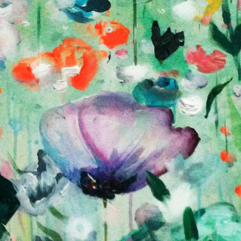 Bloemenkaarten - Abstract schilderij paarse roos