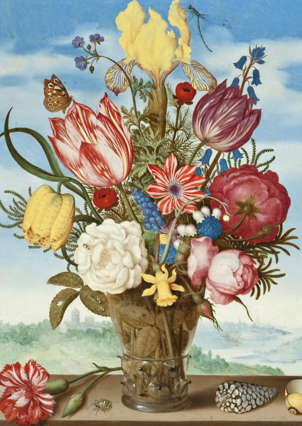 Bloemenkaarten - Ambrosius Bosschaert. Boeket met bloemen