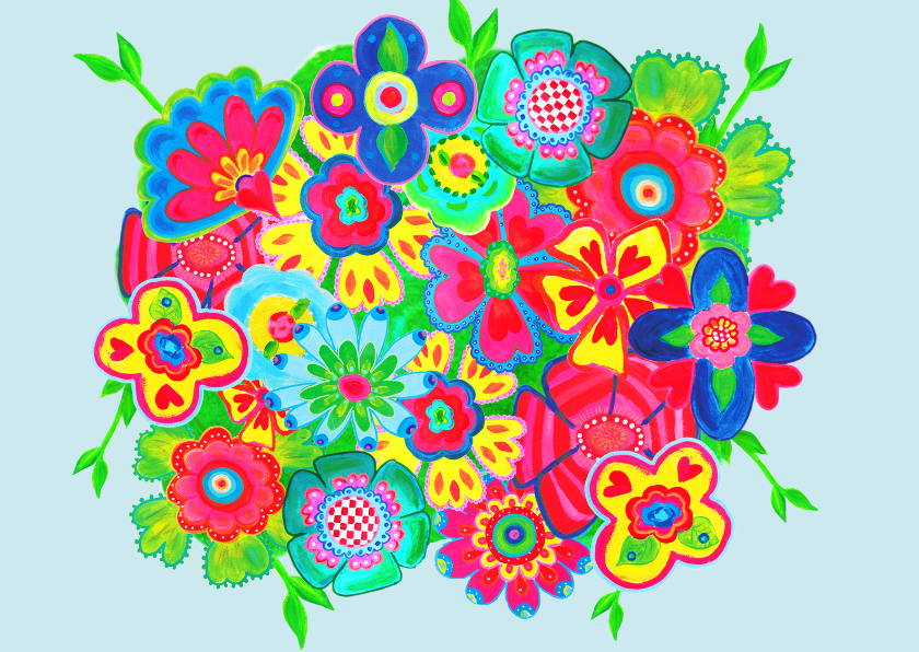 Bloemenkaarten - Ansichtkaart flowers PA