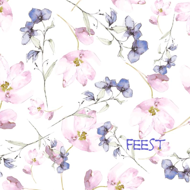 Bloemenkaarten - aquarel met rose tulpjes