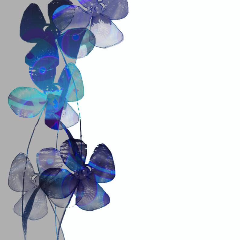 Bloemenkaarten - Blauwe bloemen fantasie