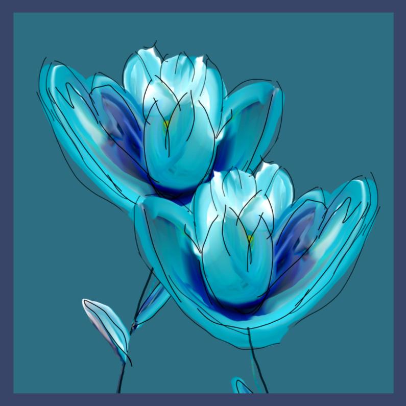 Bloemenkaarten - Blauwe tulpen