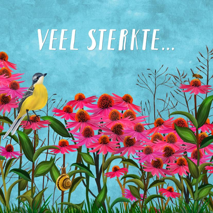 Bloemenkaarten - Bloem met vogel