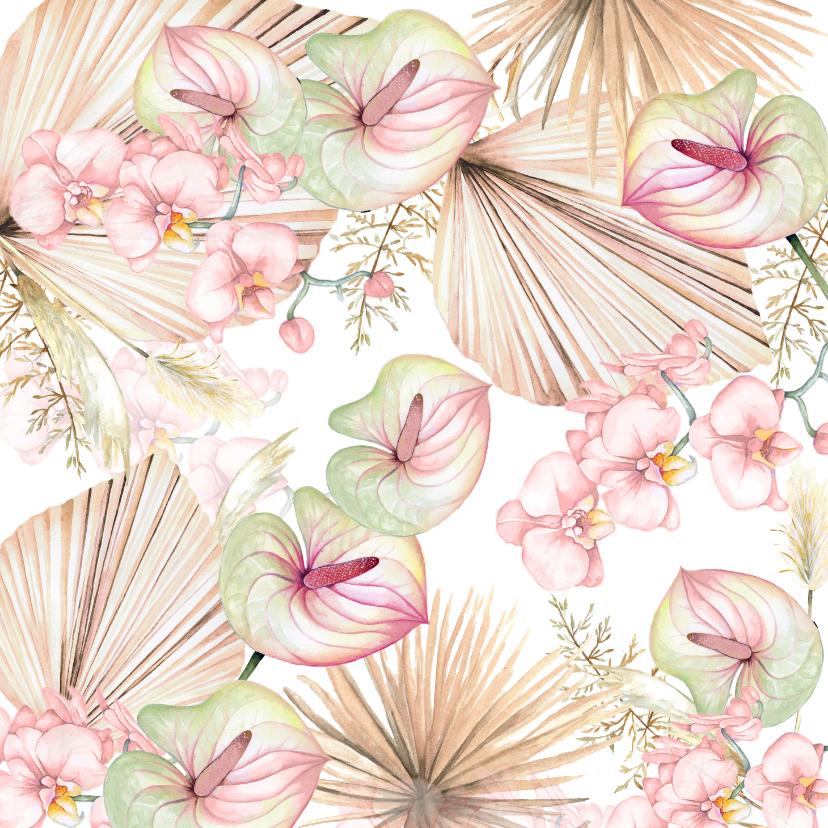 Bloemenkaarten - Bloemen blad in pastel
