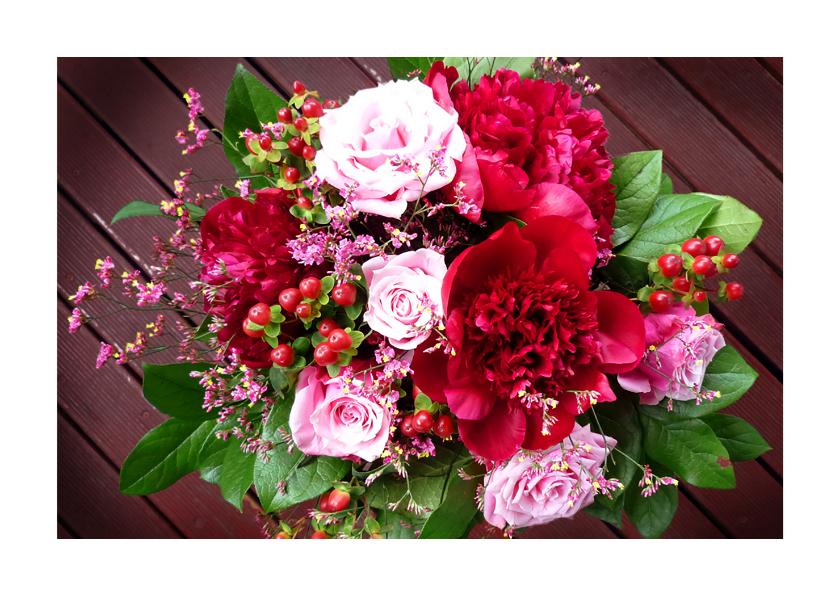 Bloemenkaarten - Bloemen boeket Pioen