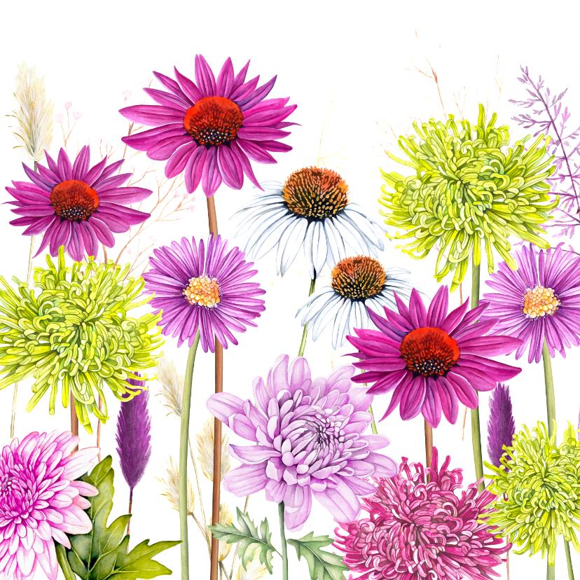 Bloemenkaarten - Bloemen chrysant zonnehoed