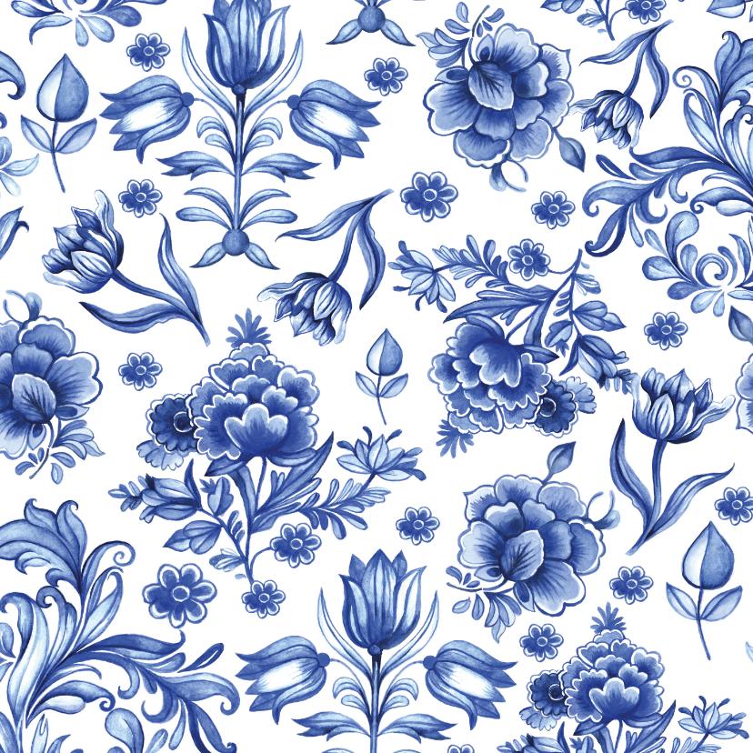 Bloemenkaarten - Bloemen delfts blauw