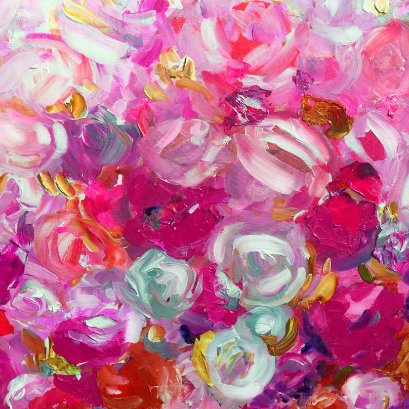 Bloemenkaarten - Bloemen geschilderde rozen roze
