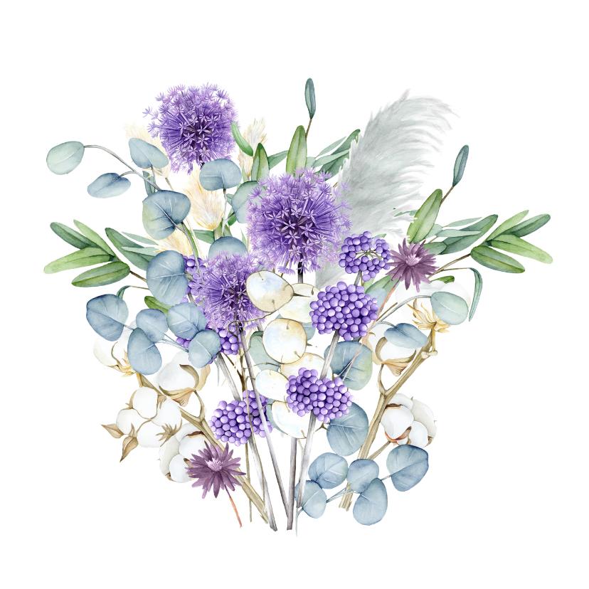 Bloemenkaarten - Bloemen in paars eucalyptus