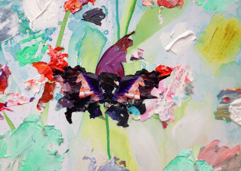 Bloemenkaarten - Bloemen kunst paarse bloem