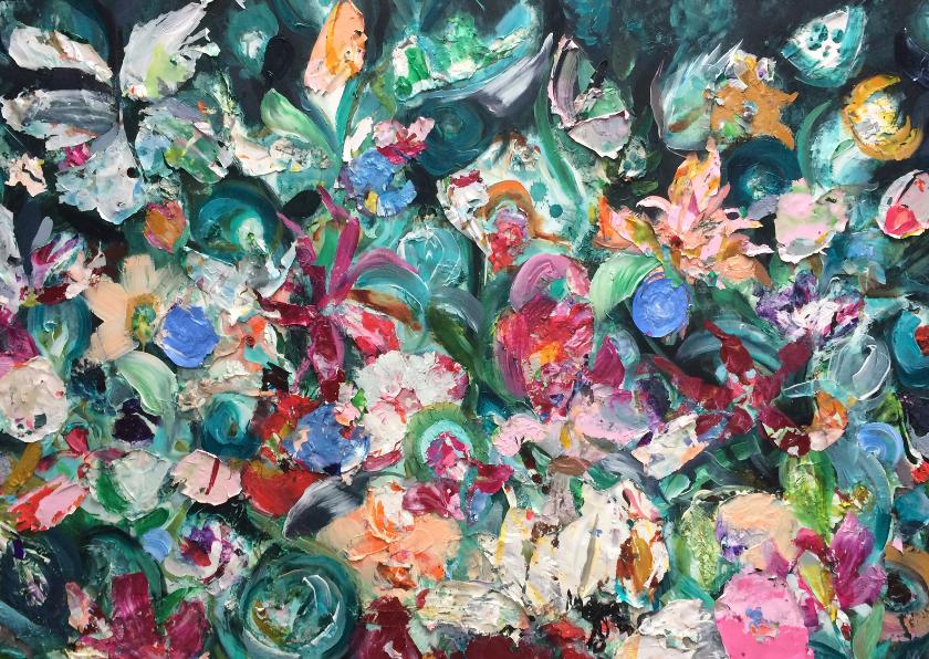 Bloemenkaarten - Bloemen schilderij kunst print