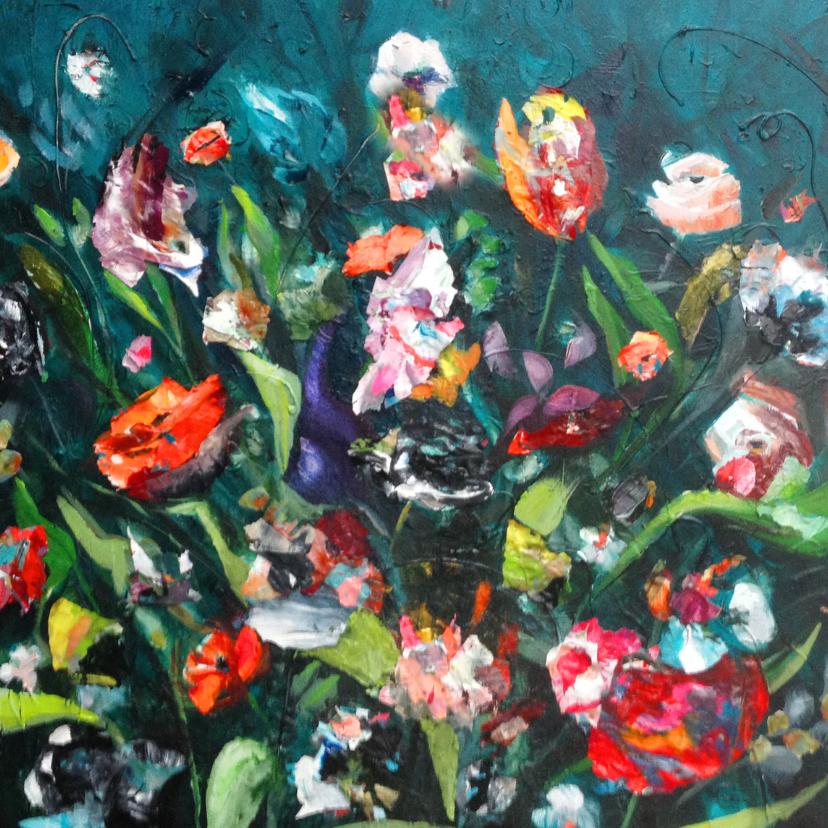 Bloemenkaarten - Bloemen schilderij print petrol