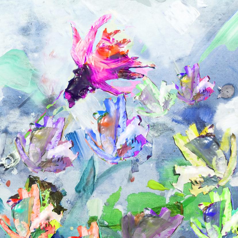 Bloemenkaarten - Bloemen schilderij print vk