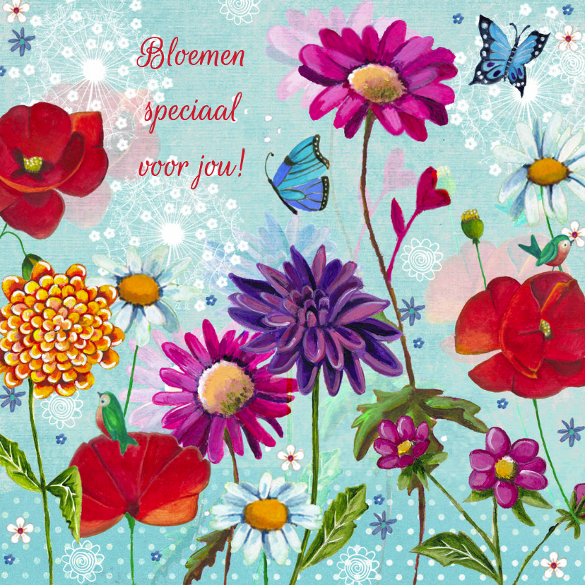 Zeer Bloemen Speciaal voor jou - Bloemenkaarten - Kaartje2go IS-27