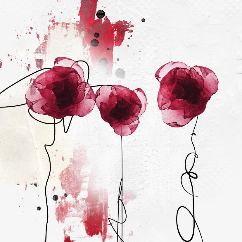 Bloemenkaarten - Bloemenkaart aquarel bordeaux