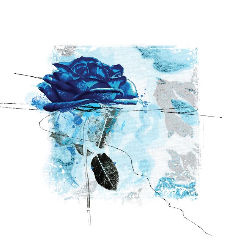 Bloemenkaarten - Bloemenkaart blauwe roos op vierkant