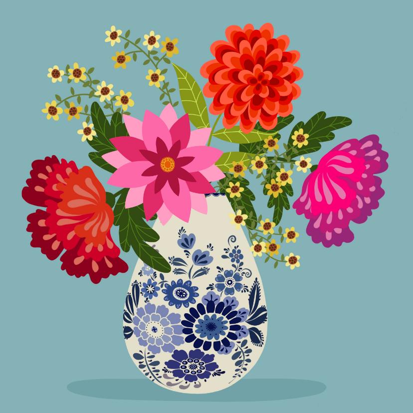 Bloemenkaarten - Bloemenkaart - Boeket bloemen in delfts blauwe vaas