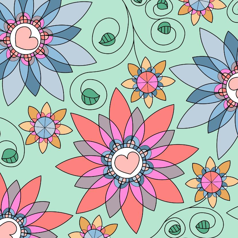 Bloemenkaarten - Bloemenkaart - fantasie bloemen met kleurplaat