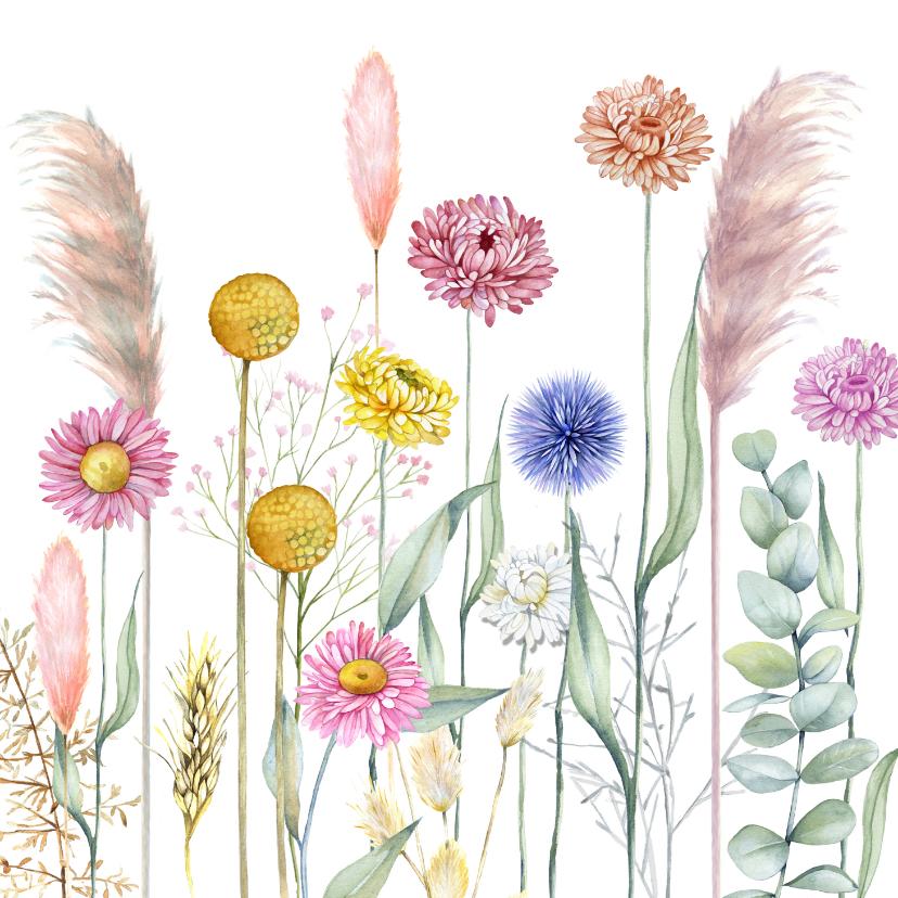 Bloemenkaarten - Bloemenkaart met droogbloemen
