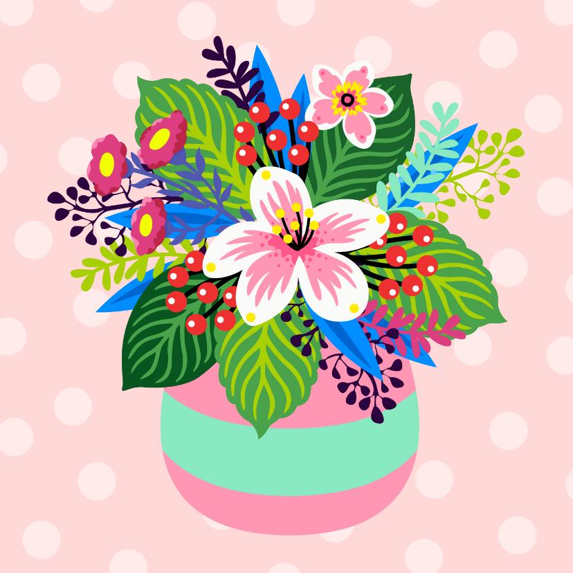 Bloemenkaarten - Bloemenkaart met illustratie van een kleurrijk boeket