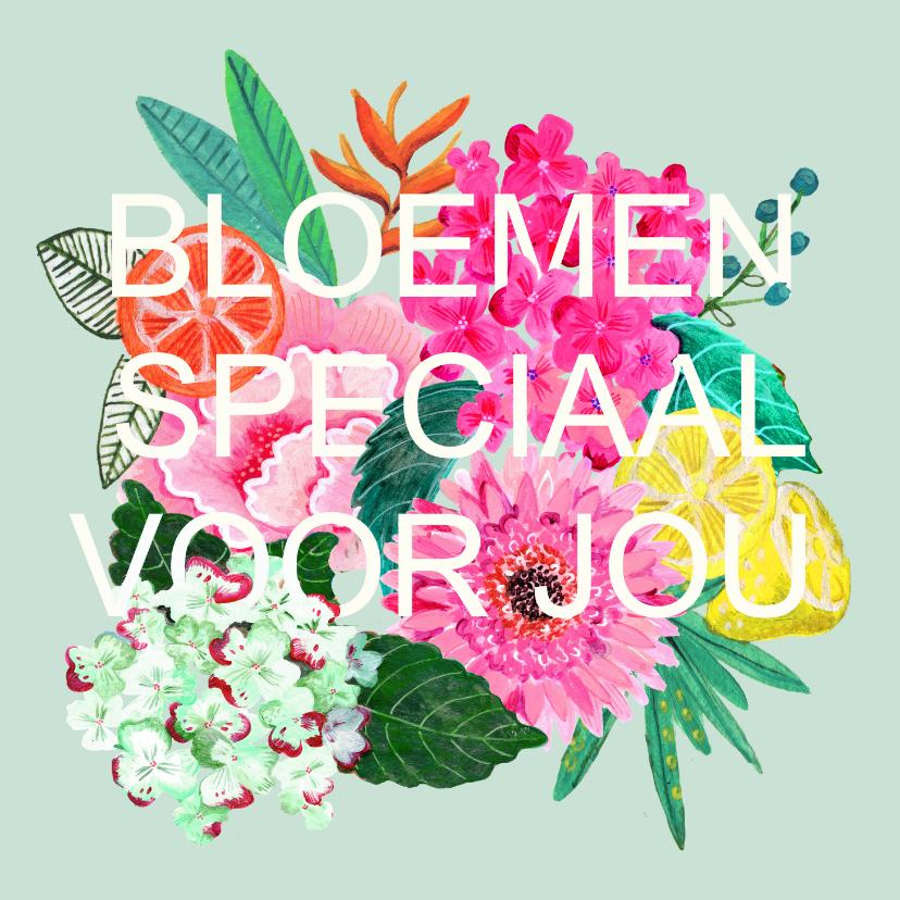 Bloemenkaarten - Bloemenkaart met moderne strakke lettering