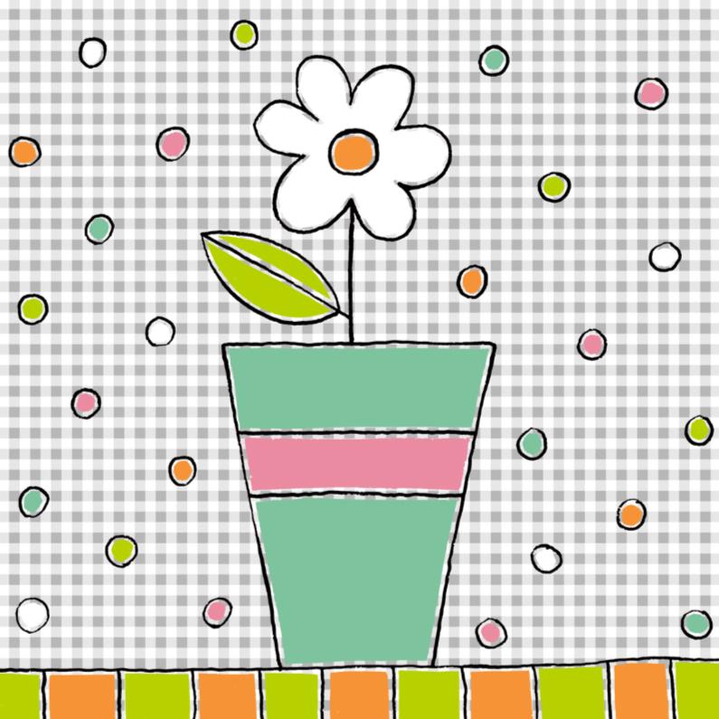 Bloemenkaarten - Bloemenkaart met witte bloem in een pot