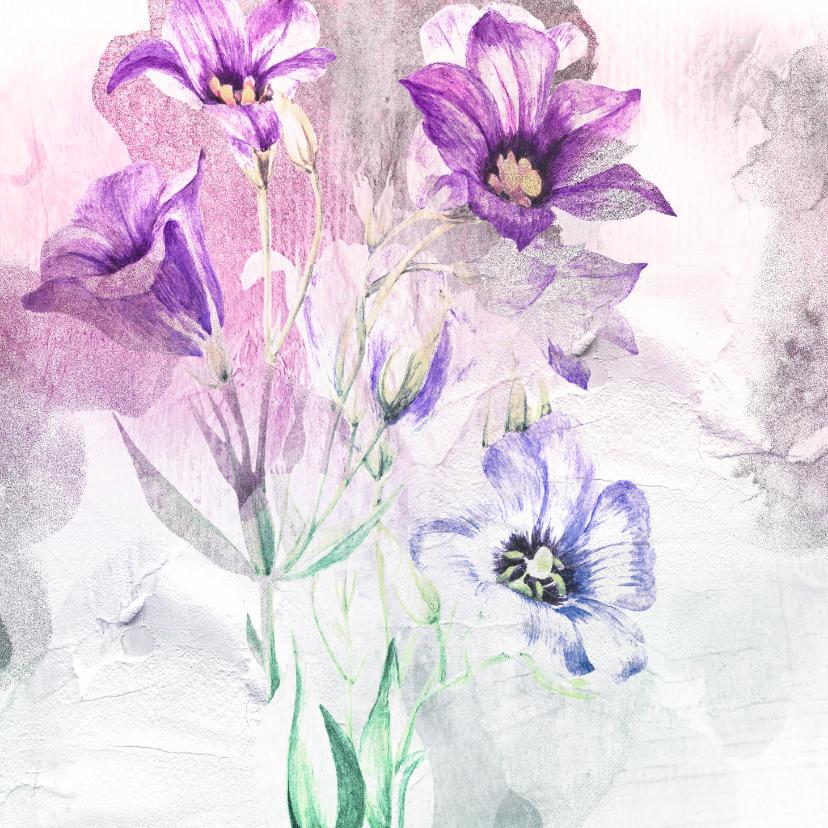 Bloemenkaarten - Bloemenkaart paars boeket aquarel