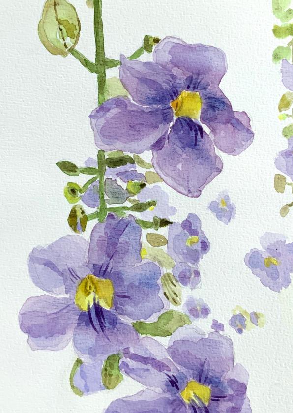 Bloemenkaarten - Bloemenkaart paarse bloemen aquarel