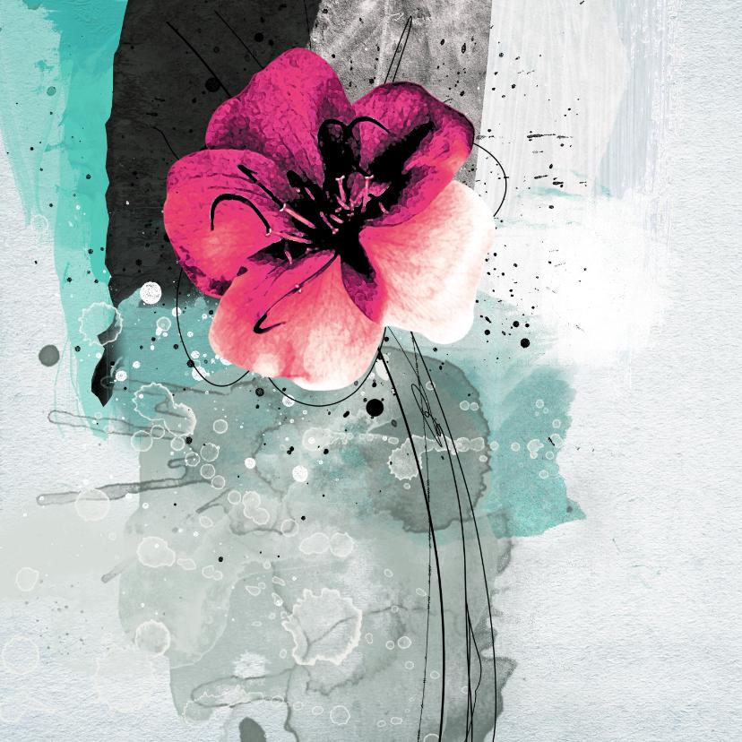 Bloemenkaarten - Bloemenkaart roze bloem painting
