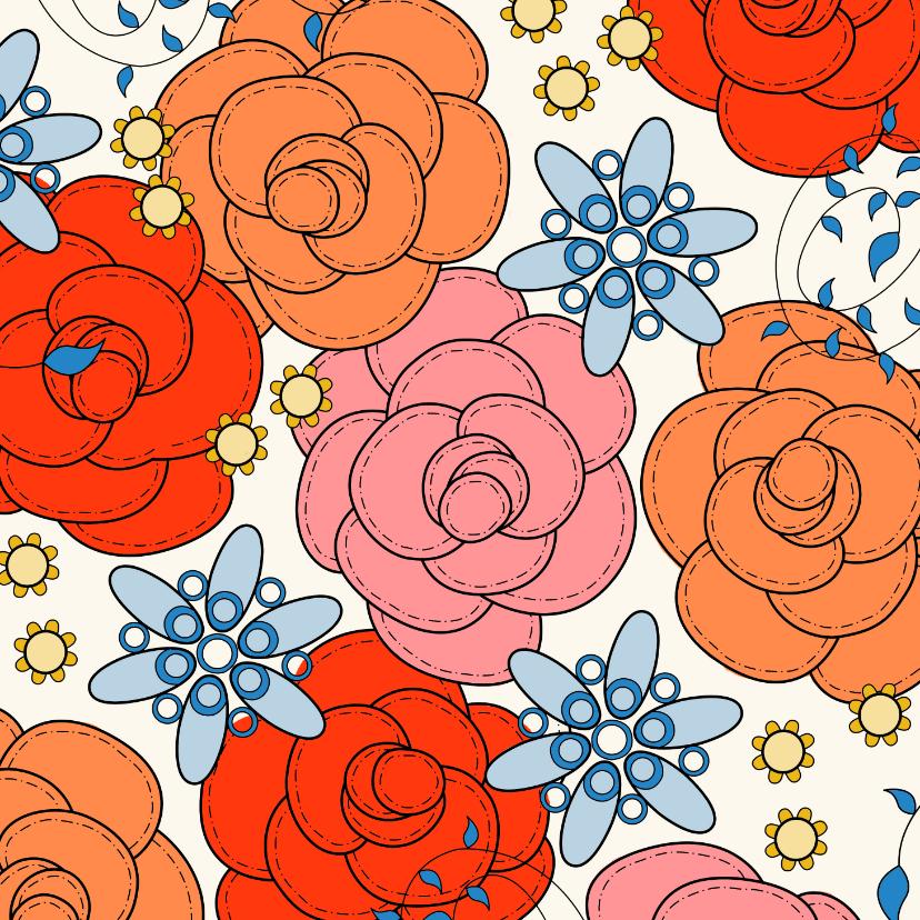 Bloemenkaarten - Bloemenkaart - Rozen - met kleurplaat