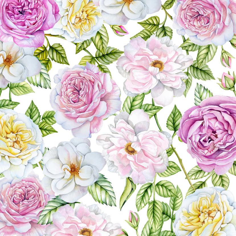 Bloemenkaarten - Bloemenkaart rozen pastel