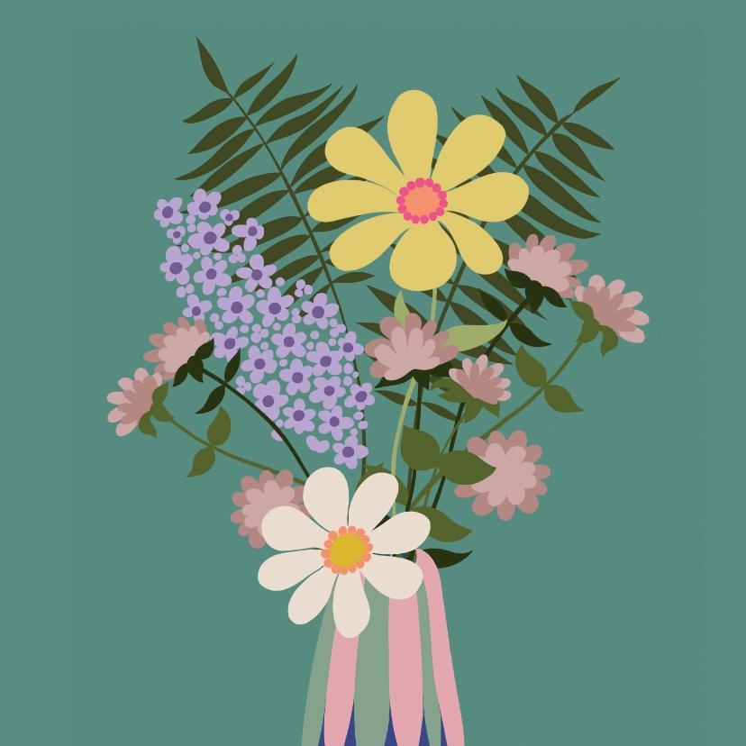 Bloemenkaarten - Bloemenkaart - vaas met bloemen