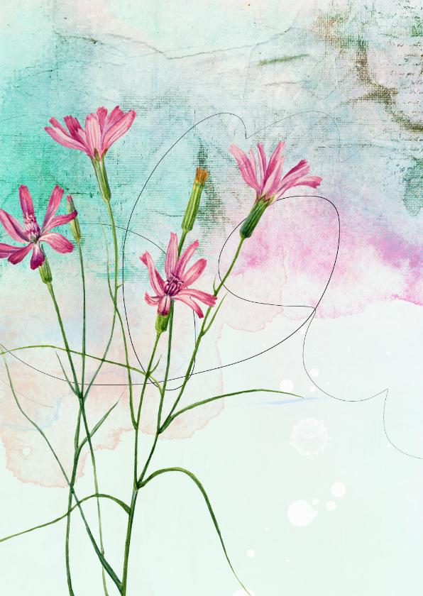 Bloemenkaarten - Bloemenkaart veldbloemen roze