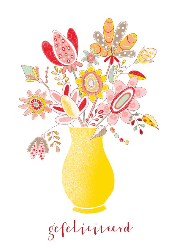 Bloemenkaarten - Bloemenkaart verjaardag handgetekend bloemen vaas geel