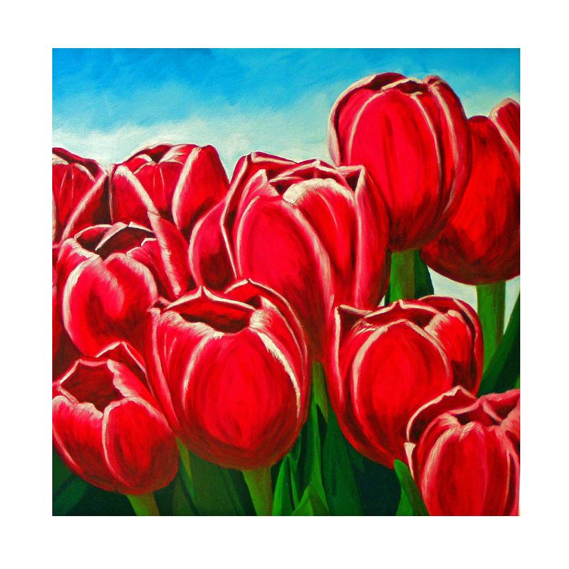 Bloemenkaarten - Bloemenkaart vrolijke rode tulpen
